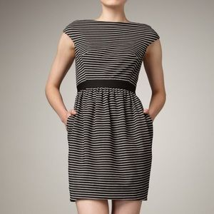 Shoshanna black and white striped cap sleeve dress